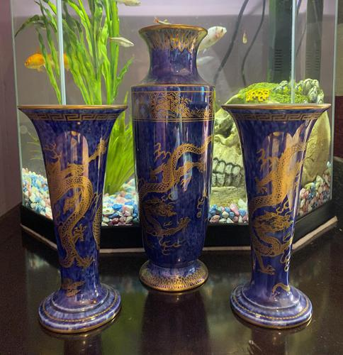 Wedgwood Lustre garniture of 3 Vases decorated with Dragon design by Daisy Makeig-Jones (1 of 9)
