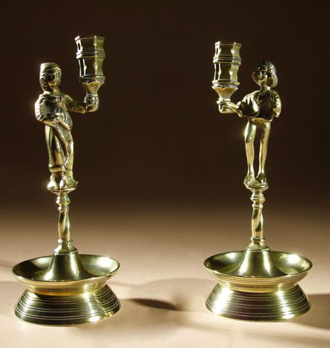A Rare Pair And Very Decorative Brass Neo-gothic Candlesticks (1 of 8)