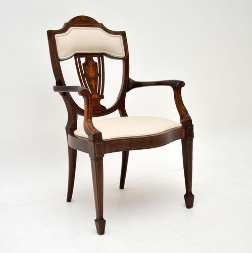 Antique Edwardian Inlaid Mahogany Armchair (1 of 11)