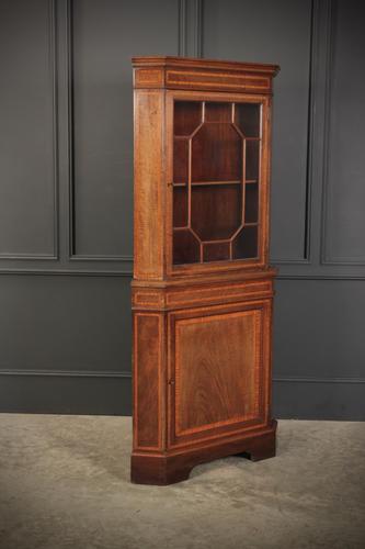 Edwardian Inlaid Mahogany Corner Cupboard (1 of 9)