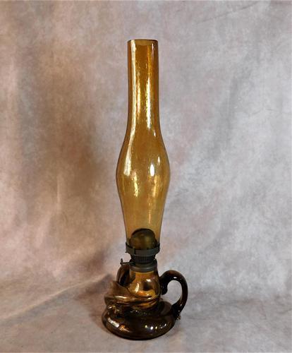 Art Nouveau, Amber Glass, Chamber Lamp (1 of 21)