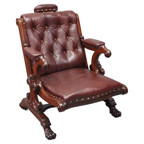 William IV Mahogany and Burgundy Leather Armchair (1 of 12)