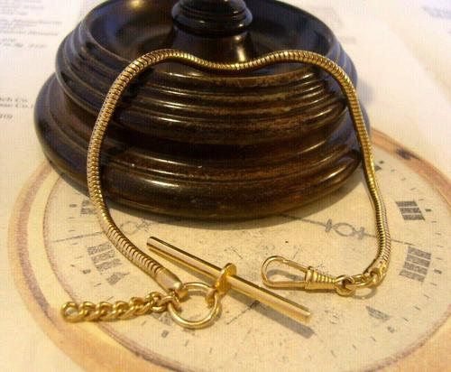 Vintage Pocket Watch Chain 1970s 12ct Gold Plated Snake Link Albert With T Bar (1 of 7)