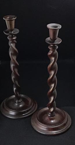Pair of  Tall Mid Victorian Mahogany Barley Twist Candlesticks (1 of 5)