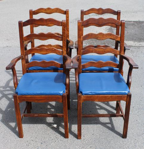 1960's Set 4 Oak Carver Dining Chairs with Blue Leather Pop Out Seats (1 of 4)