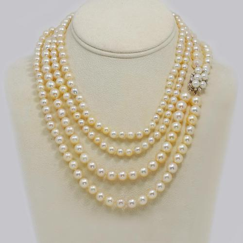 "1930s Pearl Necklace 36"" Long Diamond Clasp Vintage Double Strand Pearl Necklace (1 of 13)"