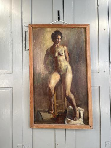 Antique Nude Oil Painting Portrait of Seated Figure by Alys Woodman RBSA (1 of 10)