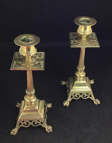 Pair of Victorian Brass Candlesticks (1 of 4)