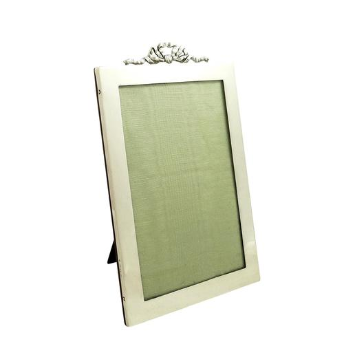"""Antique Sterling Silver 8""""  Bow/Ribbon Photo Frame 1919 (1 of 8)"""
