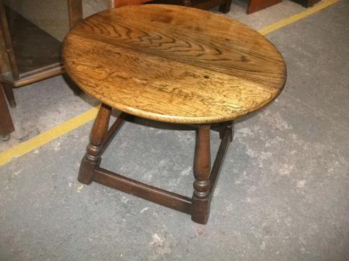Circular Solid Oak Coffee Table (1 of 1)