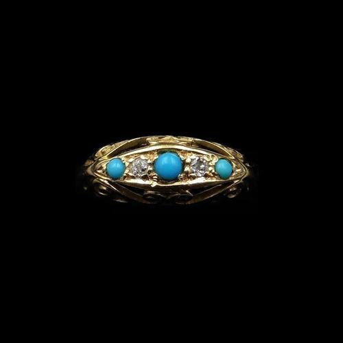 Antique Turquoise and Diamond Five Stone Scroll Boat 18ct 18K Yellow Gold Ring (1 of 10)