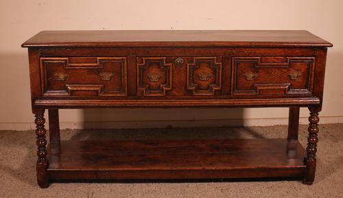 Jacobean Console / Dresser Base - Three Drawers in Oak (1 of 11)