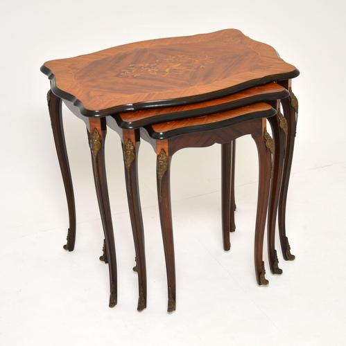 Antique French Inlaid Marquetry Nest of Tables (1 of 9)