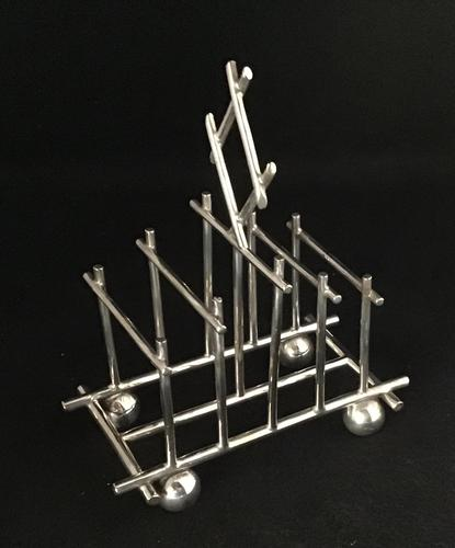 Christopher Dresser Style 5 Bar Silver Plated Toast Rack (1 of 5)