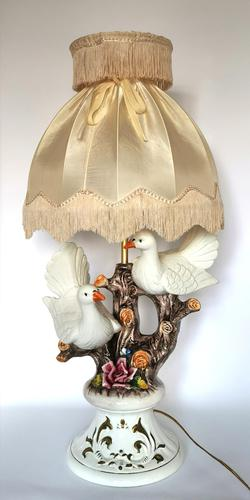 Large Capodimonte Porcelain Bird Figurine Table Lamp (1 of 10)