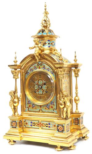 Incredible Antique French Champlevé Ormolu Bronze 8 Day Striking Mantel Clock c.1860 (1 of 13)
