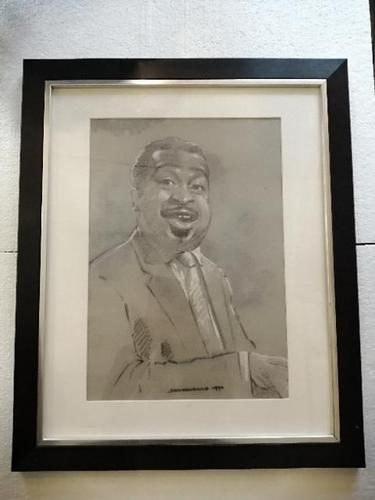 A pencil  portrait of Count Basie highlighted in pastel (1 of 6)