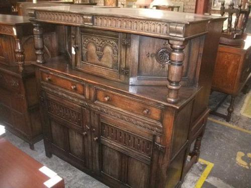 Ornately Carved Oak Court Cupboard - 021-224 (1 of 2)
