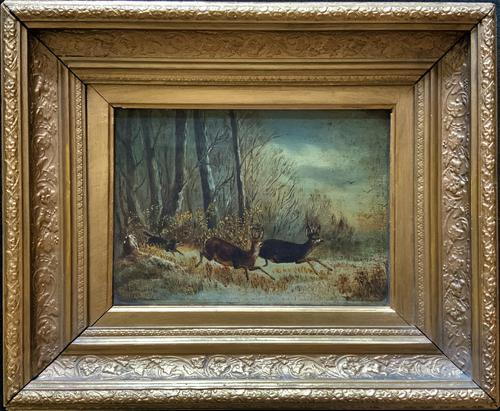 'Chasing The Deer' Beautiful 19th Century Game Hunting Moonlit Landscape Oil Painting (1 of 14)