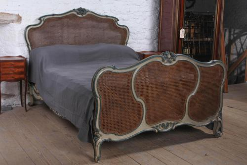 Art Nouveau Style French Caned / Bergere King Size Bed (1 of 9)
