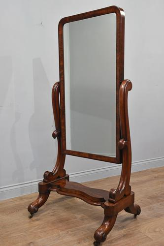 Antique Victorian mahogany free standing cheval dressing mirror (1 of 4)