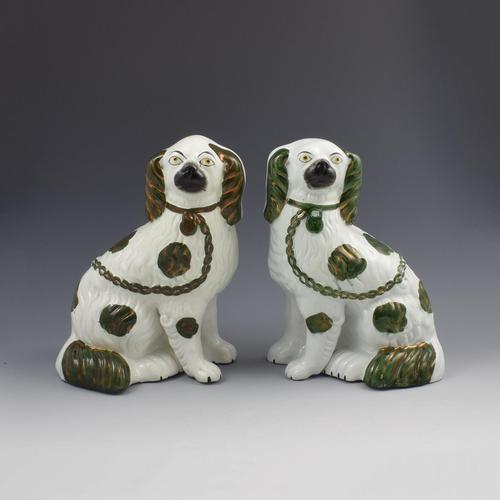 Pair of Copper Lustre Staffordshire Spaniel Dogs c.1890 (1 of 7)
