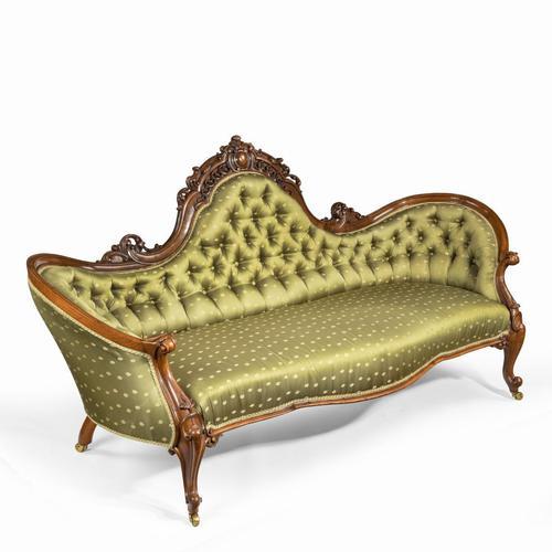 Elaborate Victorian Shaped Walnut Sofa (1 of 12)