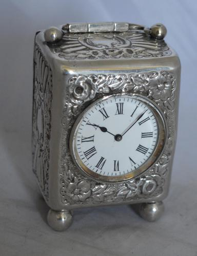 Victorian 1894 Silver Carriage Clock (1 of 5)