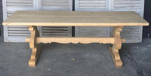 Large French Bleached Oak Trestle Farmhouse Dining Table (1 of 14)
