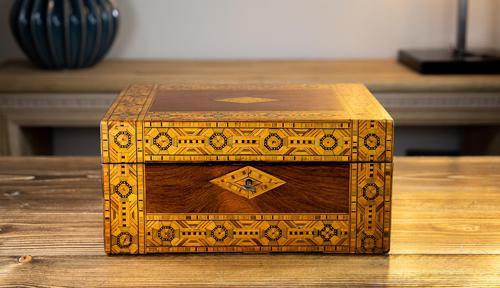 Figured Walnut Tunbridge Ware Box c.1880 (1 of 11)