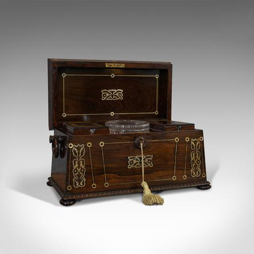Antique Tea Caddy, English, Rosewood, Chest, Thomas of London, Regency c.1820 (1 of 12)