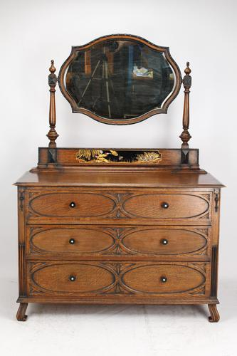 Oak Chinoiserie Dressing Chest of Drawers (1 of 13)