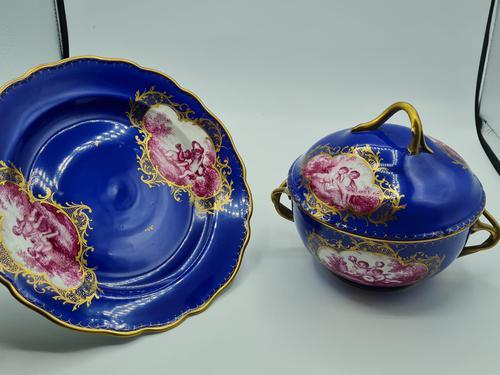 Dresden 19th Century Porcelain Ecuelle, Antique German Porcelain Covered Bowl Plate (1 of 7)