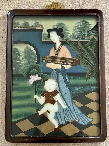 Decorative Chinese Reverse Painting. 1920's (1 of 8)
