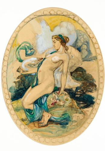 Exclusive Russian Symbolism Painting from Private Collection. #2 Leda with a Swan (1 of 6)