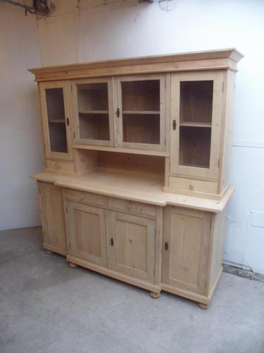 A Lovely 4 Door Antique/Old Pine Large Glazed Kitchen Dresser To Paint/Wax (1 of 9)