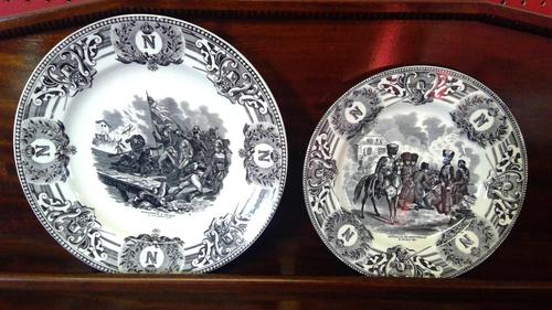 Napolean Bonaparte Interest, Pair of Transfer Printed Antique Pottery Plates (1 of 4)