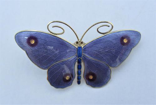 Marius Hammer Silver Gilt & Enamel Butterfly Brooch, c1920 (1 of 10)