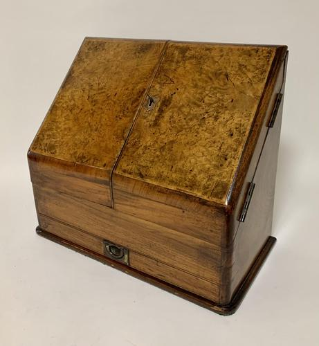 Antique Victorian Burr Walnut Desktop Stationery Cabinet (1 of 11)