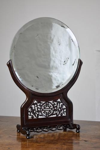 Chinese Hardwood Mirror Stand with Circular Bevelled Mirror (1 of 10)