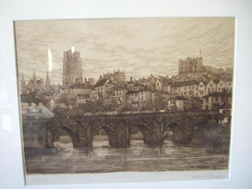 Walter W Burgess Etching of Elvet Bridge, Durham 1883 (1 of 5)