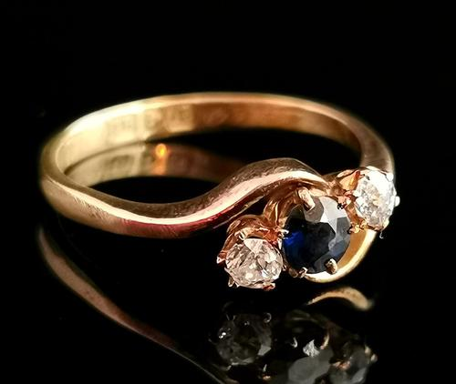 Antique Diamond & Sapphire Crossover Ring, 18ct Gold (1 of 12)