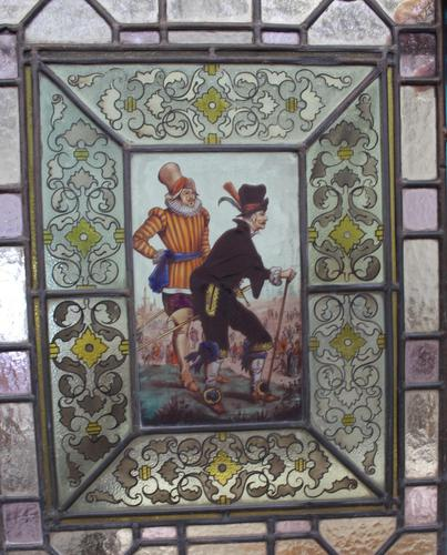 1850's Pair of Stained Glass Panels with Scenes Inset (1 of 4)