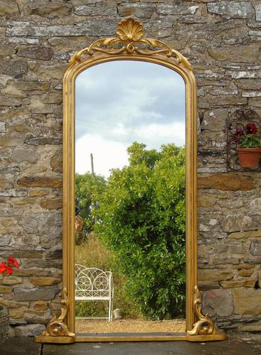 Large Antique French Arched Gilt Mirror of Unusual Size (1 of 8)