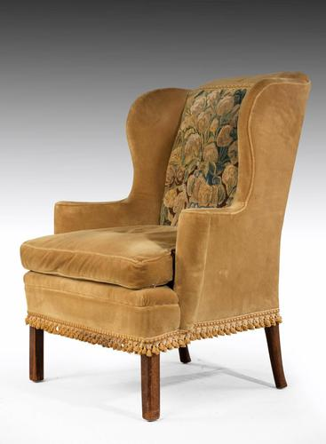 George III Period Wing Chair Incorporating a Verdure Tapestry Panel (1 of 6)