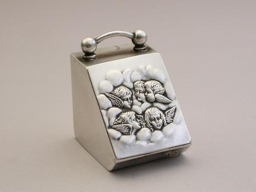 "Edwardian Novelty Silver Coal Scuttle Stamp Box - ""Reynolds Angels"" by Spurrier & Co, Birmingham, 1905 (1 of 12)"