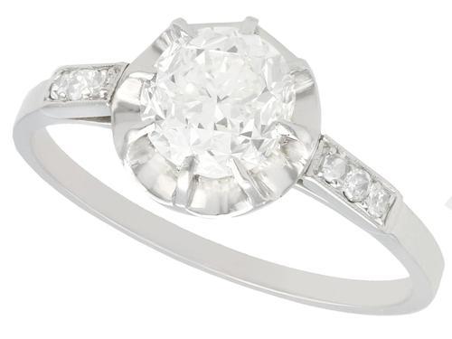 1.22ct Diamond & Platinum Solitaire Ring - Antique French c.1920 (1 of 9)