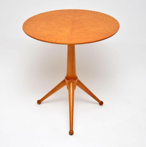 1960's Vintage Burr Maple Tripod Side Table (1 of 7)