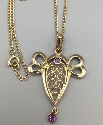 9ct Yellow Gold Amethyst & Peridot Pendant & Chain (1 of 6)
