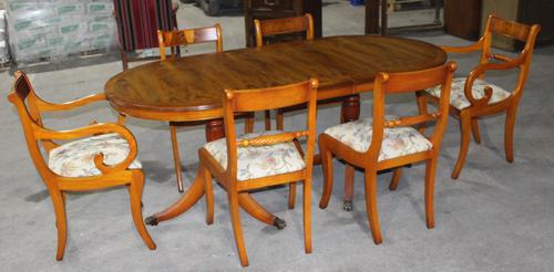 1940's Walnut Dining Suite with Set of 6 Walnut Dining Chairs (1 of 3)